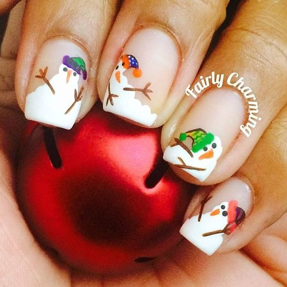 Snow Man Nail Art